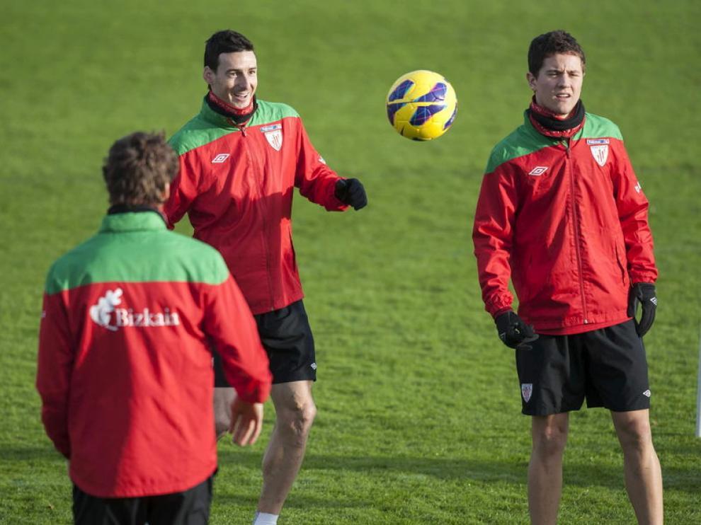 Ander Herrera, durante un entrenamiento con el Athletic de Bilbao.