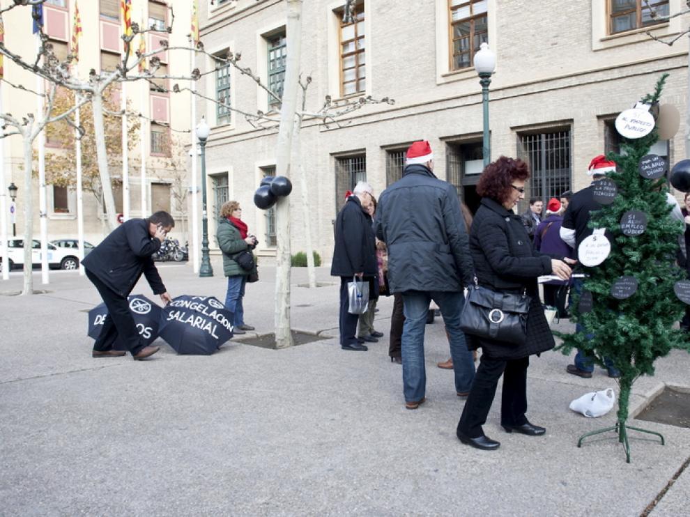 Protesta de los funcionarios contra los recortes