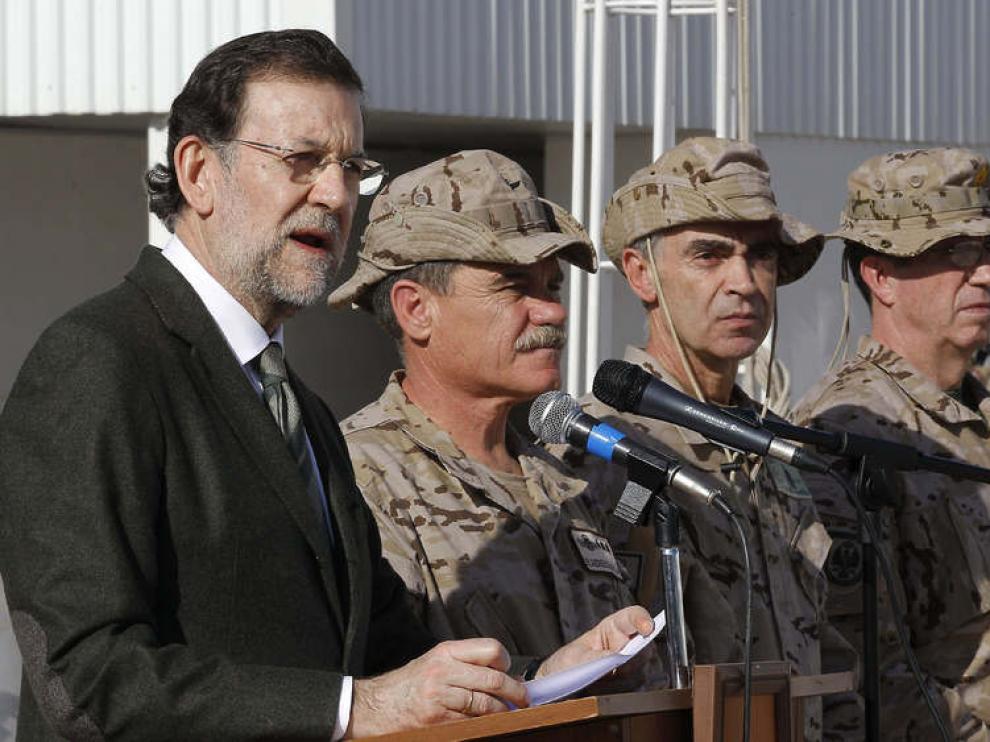 Rajoy durante su visita sorpresa a Afganistán