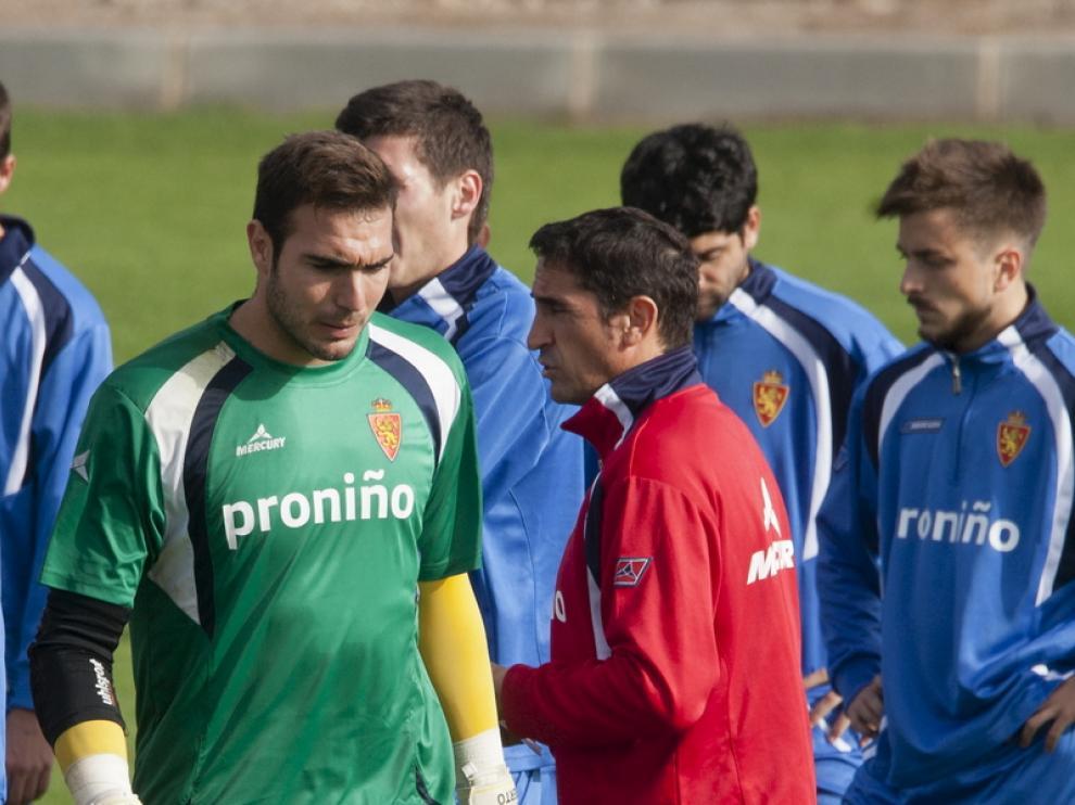 Roberto, durante un entrenamiento