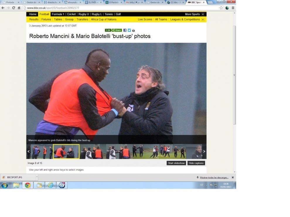 Balotelli y Mancini, en medio de una pelea