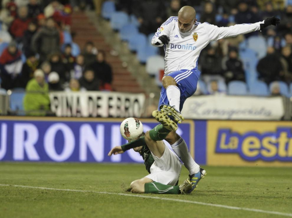 Aranda, en el último Real Zaragoza - Betis
