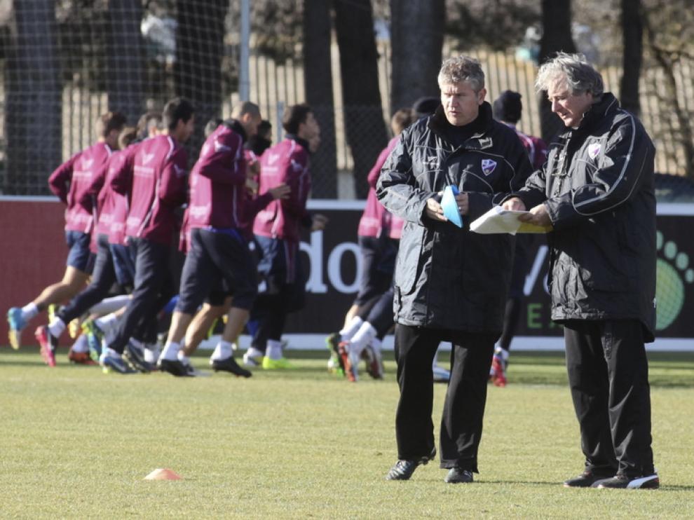 El técnico argentino, durante un entrenamiento