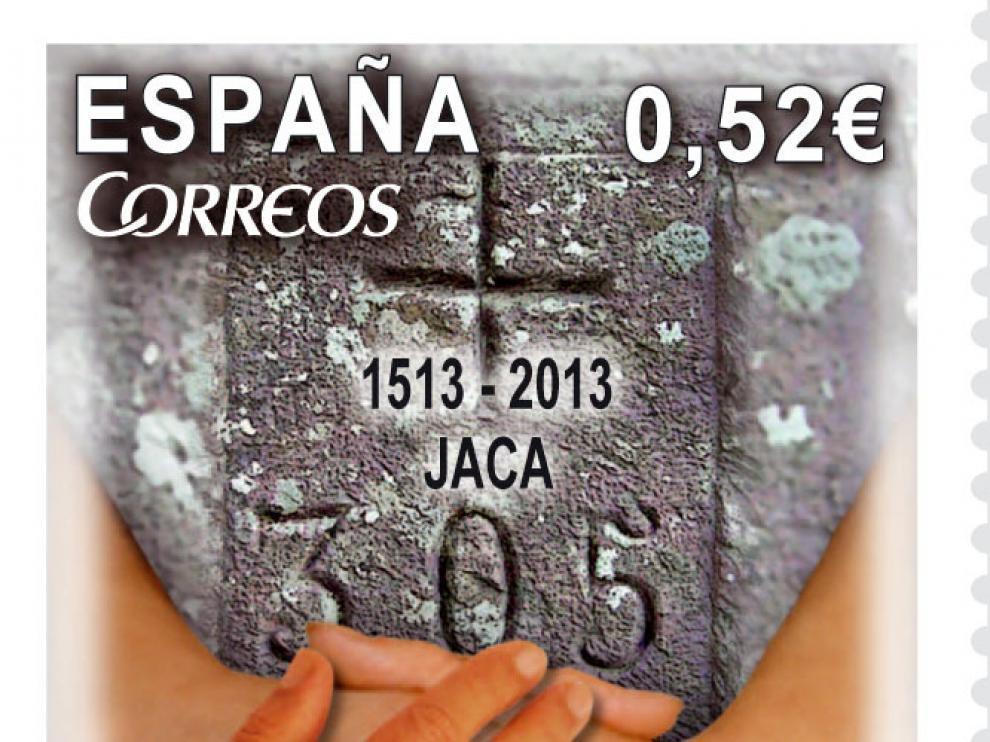 Imagen del sello sobre las mugas del Pirineo