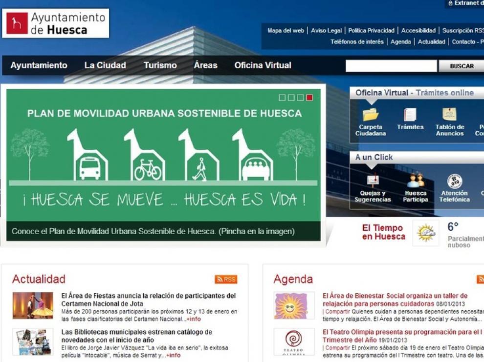 Imagen de la página web del Ayuntamiento de Huesca.