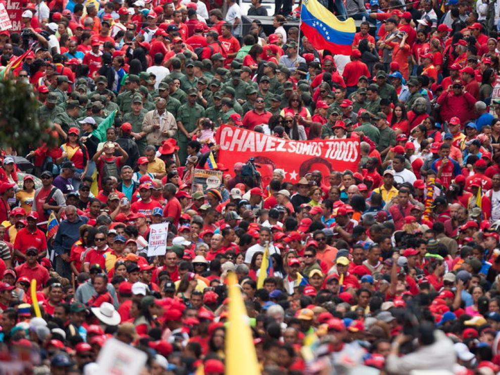Seguidores del presidente venezolano Hugo Chávez