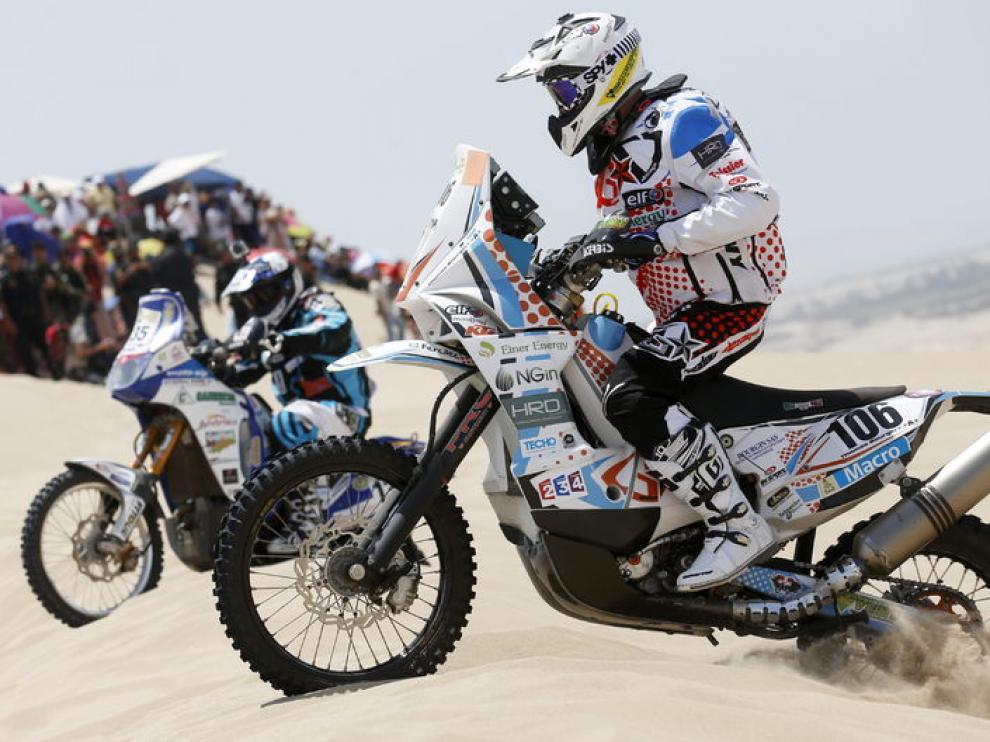 Thomas Bourgin compitiendo durante la primera etapa del Rally Dakar