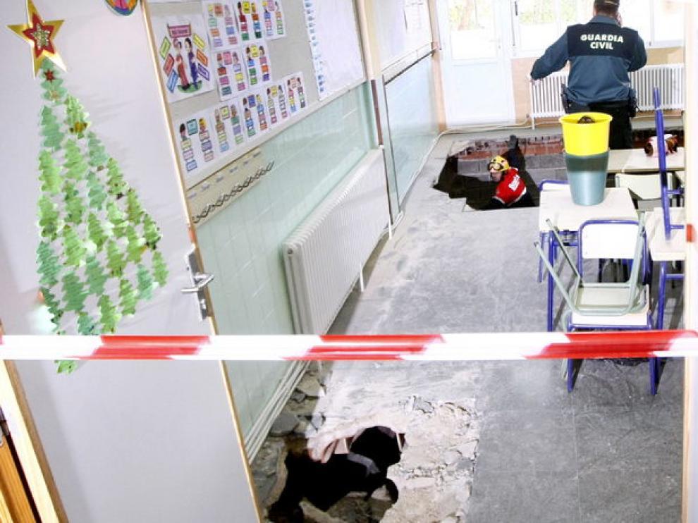 Imagen del aula donde se produjo el desplome