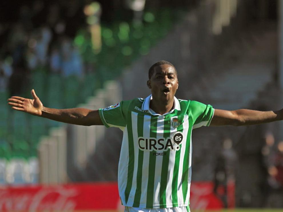 Cambell celebra el primer gol verdiblanco