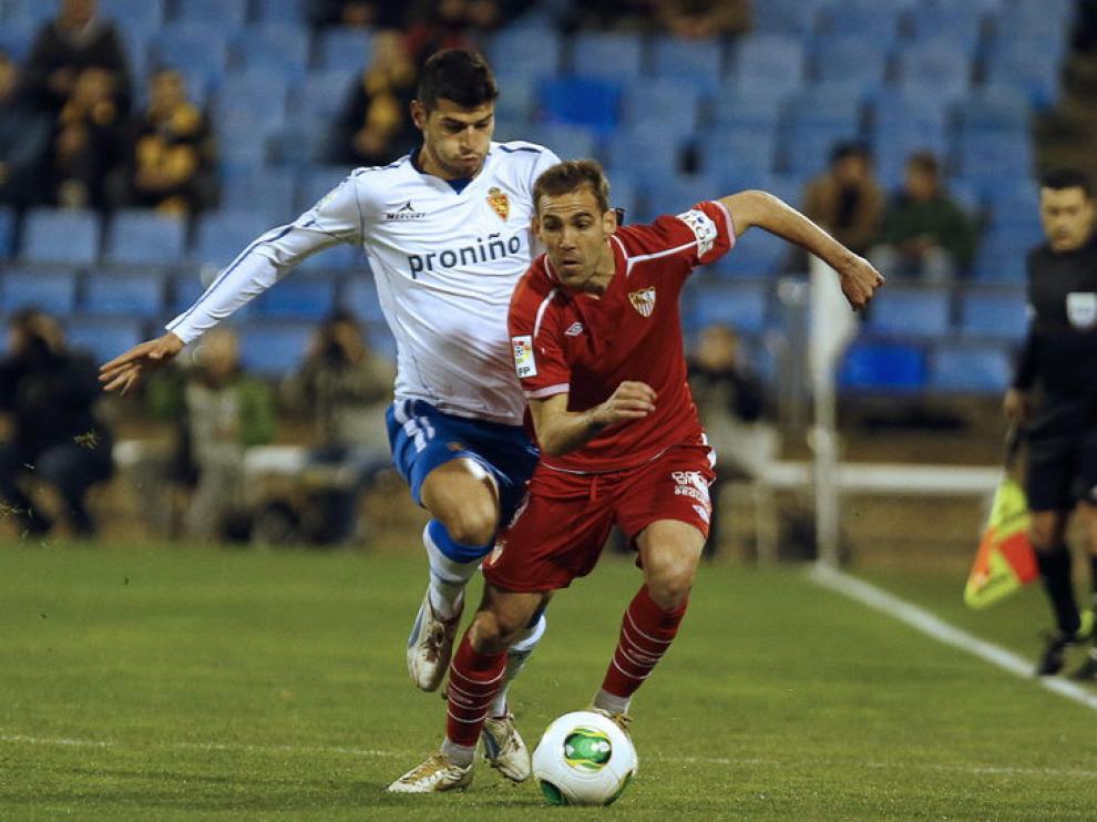 Javi Álamo, durante el Real Zaragoza-Sevilla de Copa