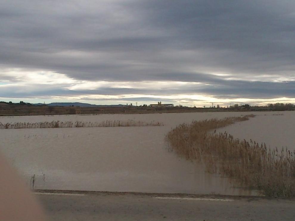 Crecida del Ebro a su paso por Novillas