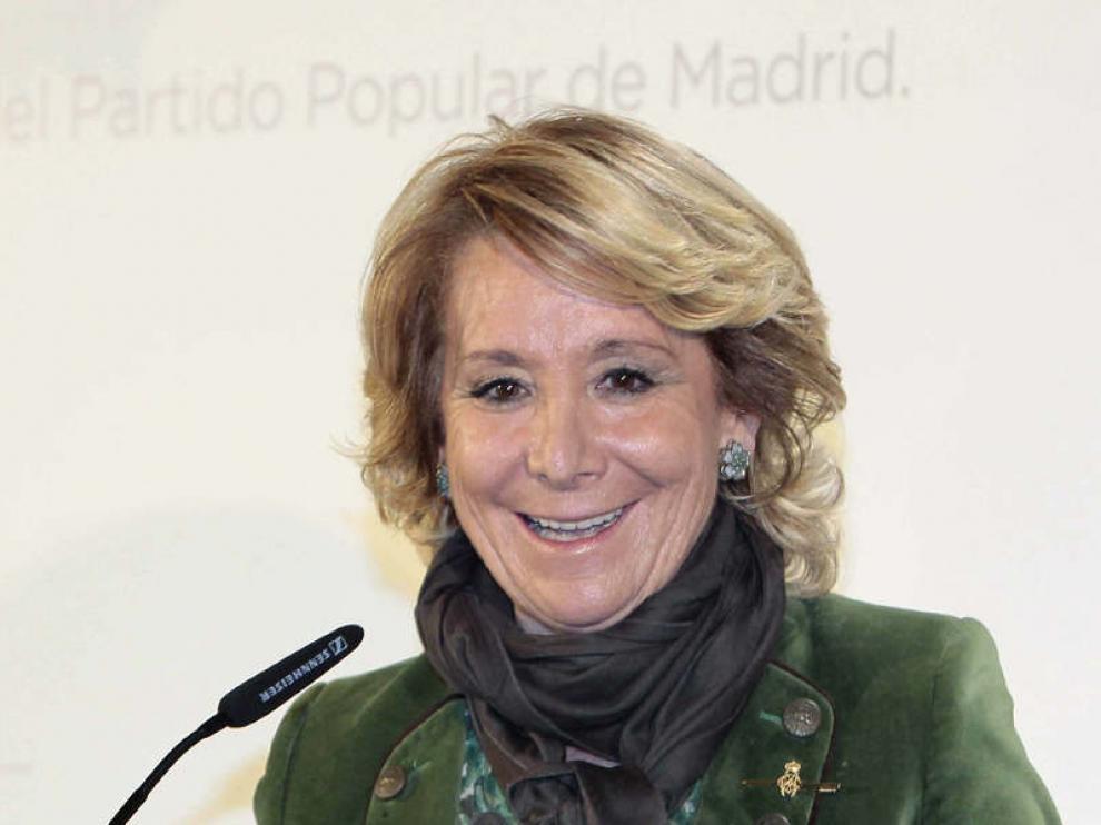 Esperanza Aguirre durante su participación este jueves en el Foro Nueva Murcia.