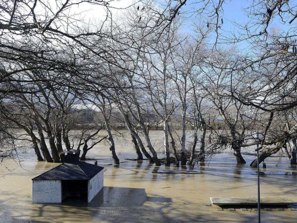 Crecida del Ebro a su paso por Gallur