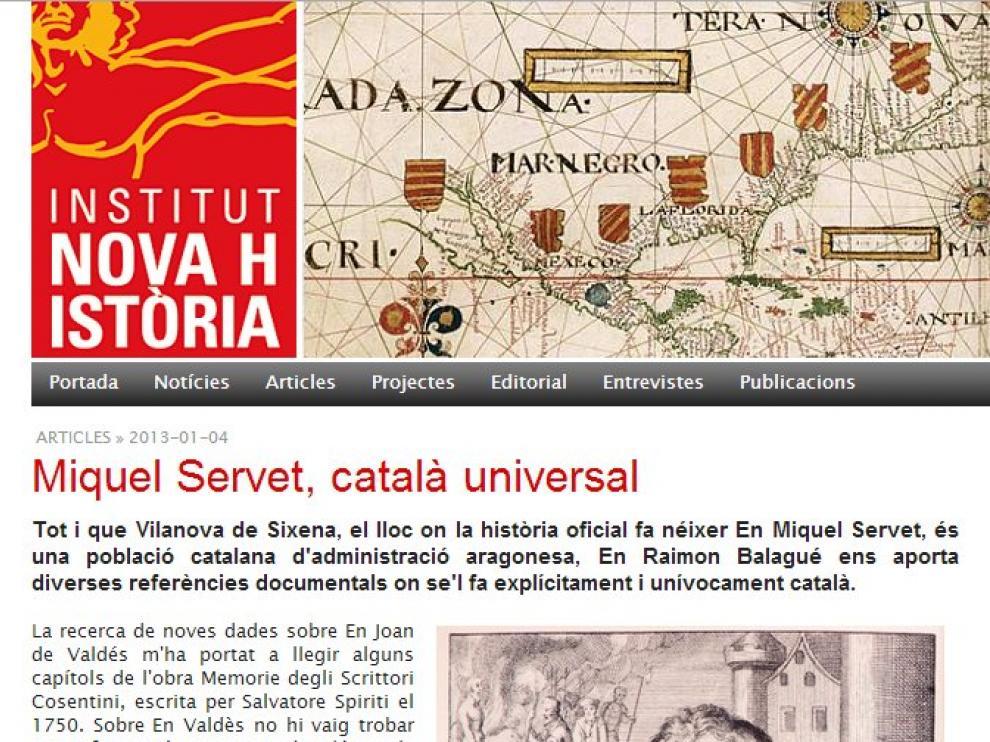 La web del Institut Nova Historia