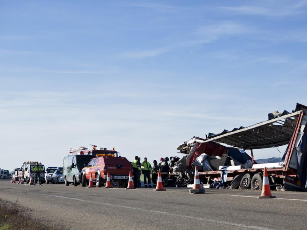 Accidente en la N-II, a la altura de Bujaraloz