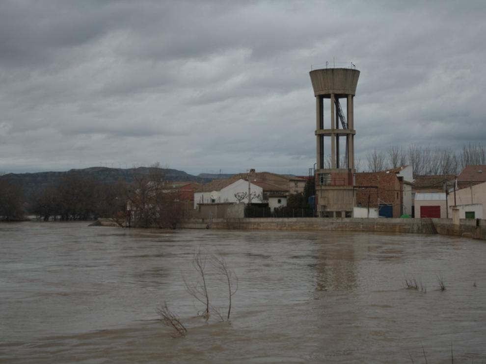 La crecida en Cabañas de Ebro