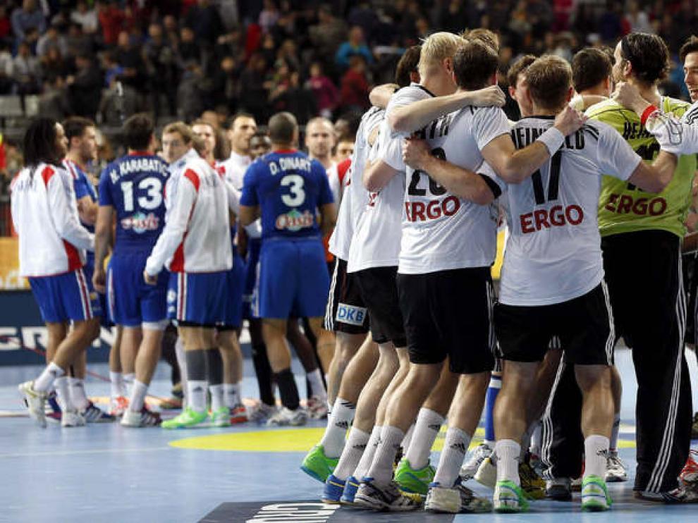 Los jugadores alemanes celebran su victoria frente a Francia.