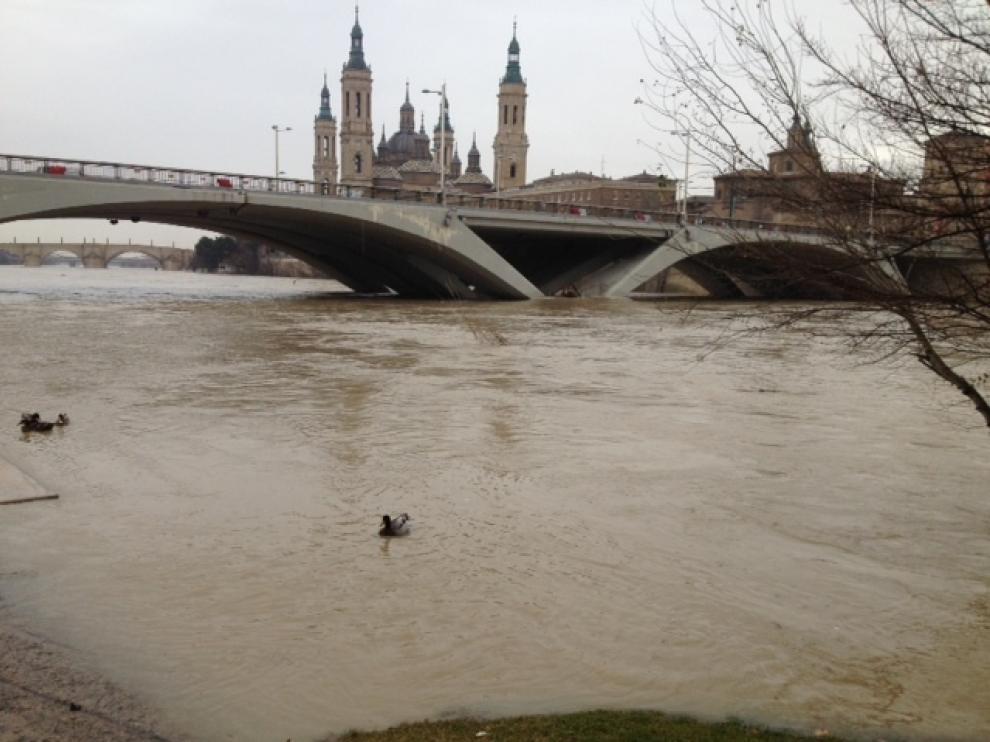 El Ebro a su paso por Zaragoza este viernes