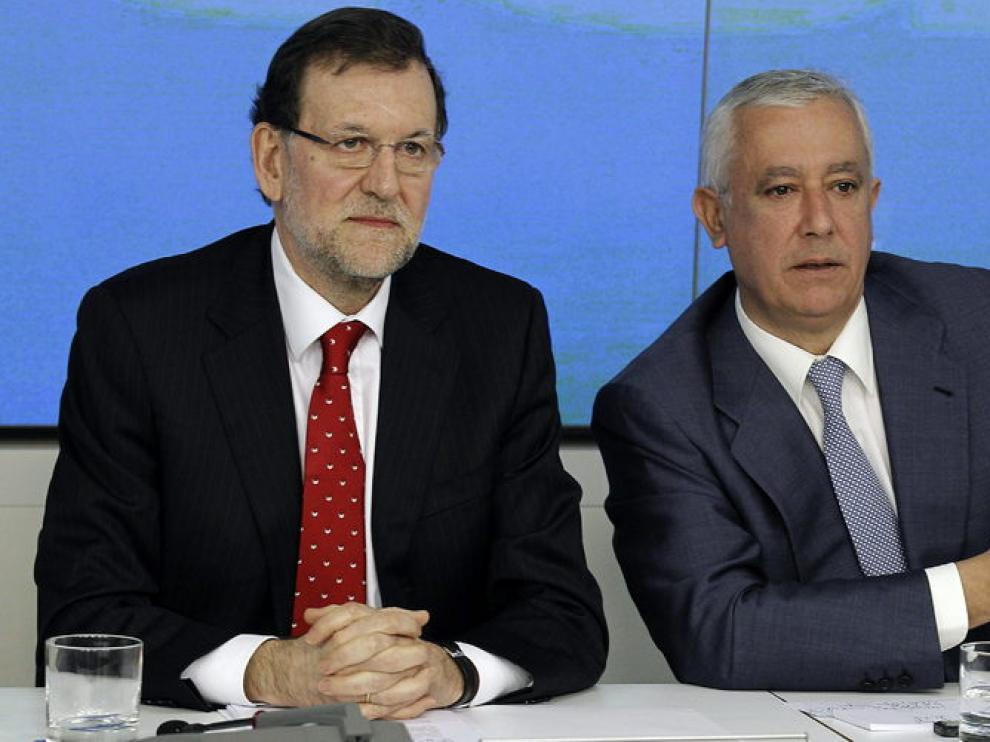 Rajoy y Arenas en la reunión del Comité Ejecutivo del PP