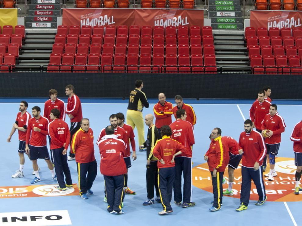 Entrenamiento de la selección española en el Príncipe Felipe antes del enfrentamiento con Alemania.