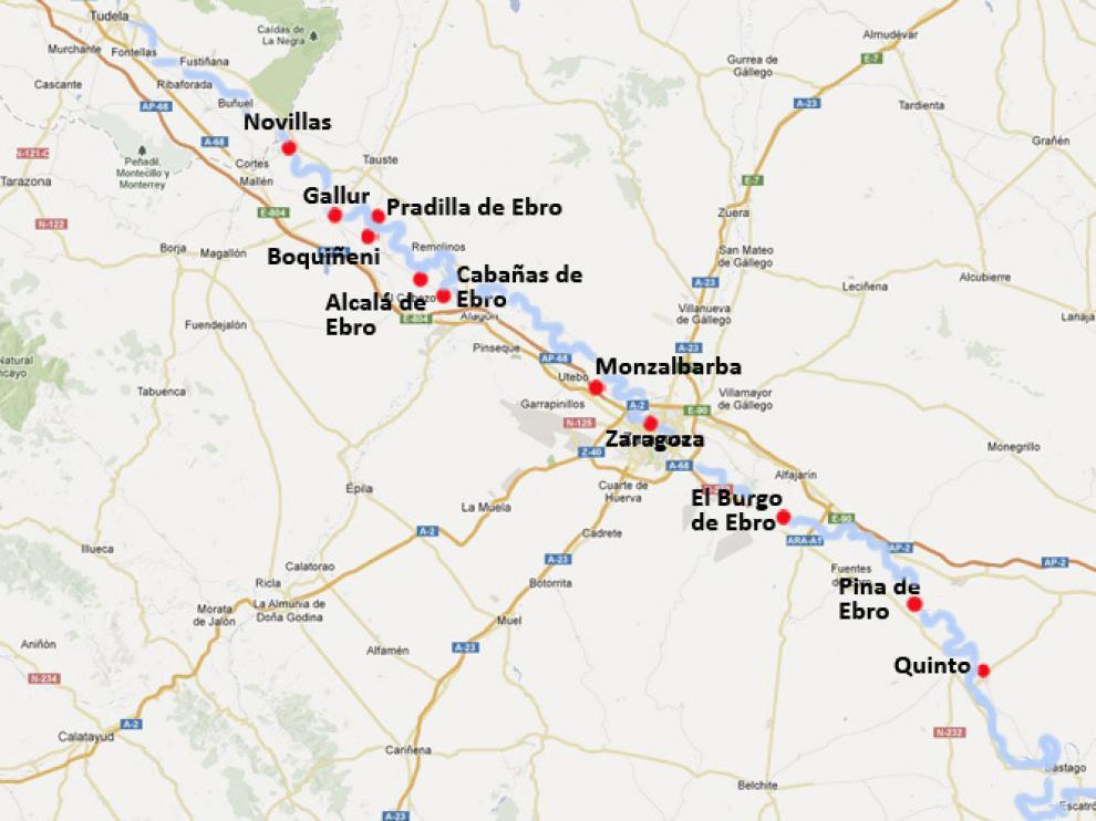 Municipios de la ribera del Ebro a su paso por la provincia de Zaragoza