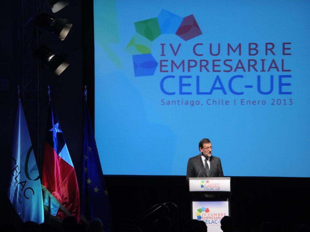 Rajoy, durante su comparecencia en Santiago de Chile.