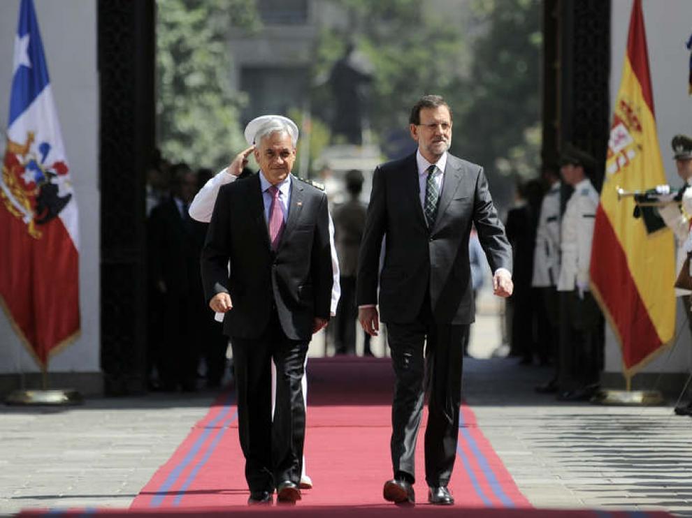 Rajoy recibido por el presidente de Chile