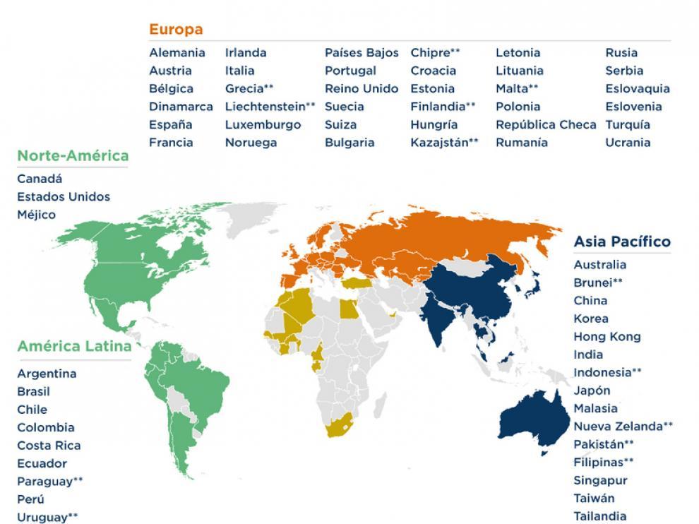 Este gráfico muestra la presencia de Coface en todo el mundo