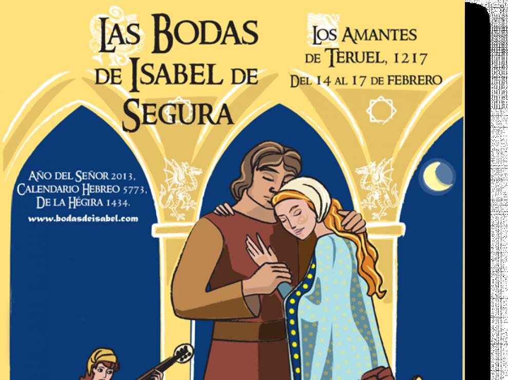 El cartel  presenta  elementos de las tres culturas que convivían en Teruel
