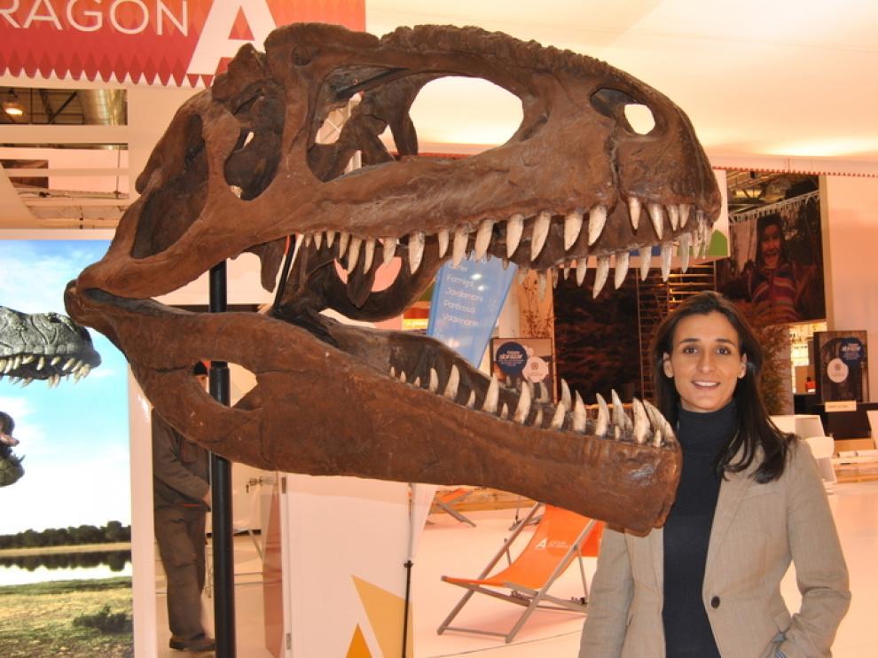 El cráneo de uno de los dinosaurios expuestos