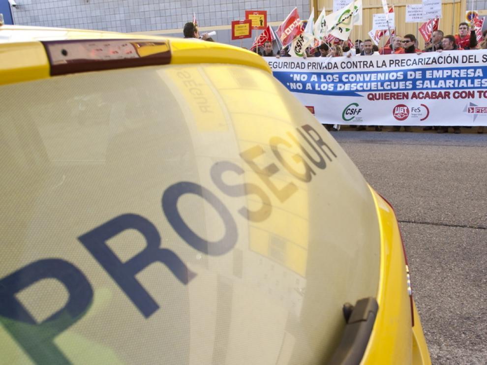Concentración de los trabajadores de Prosegur