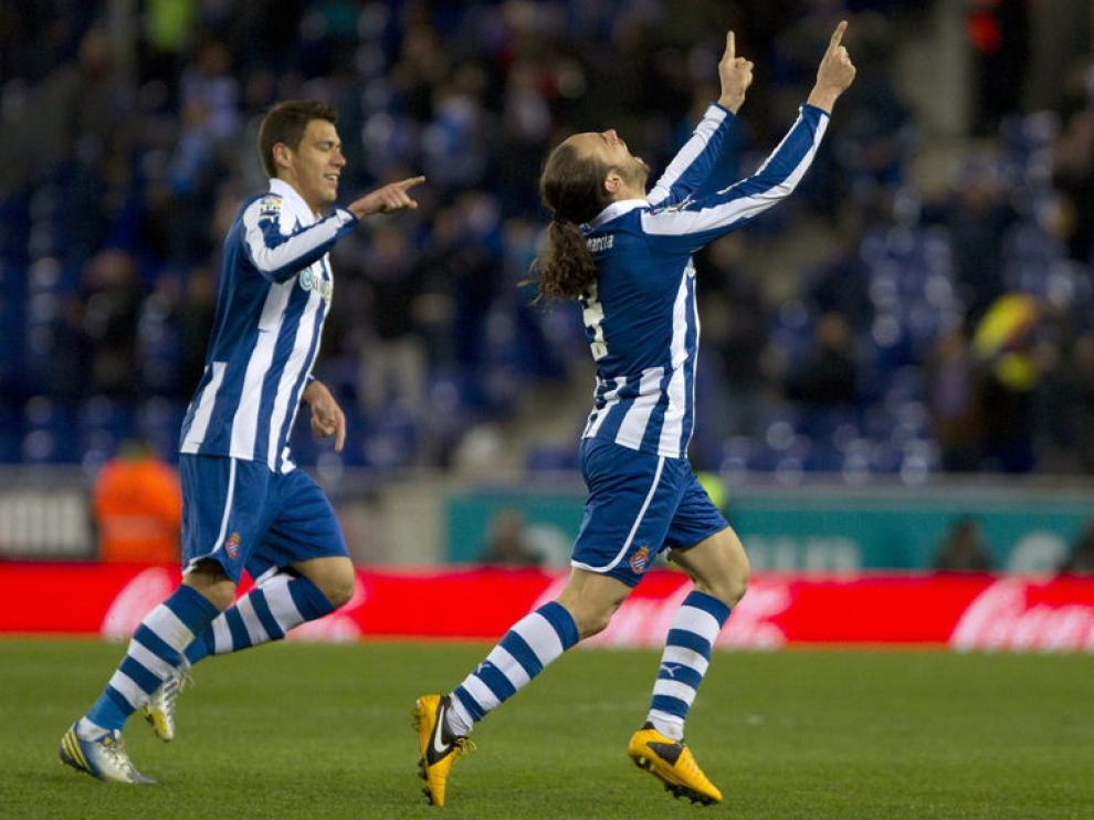 Sergio García celebra su gol ante el Levante