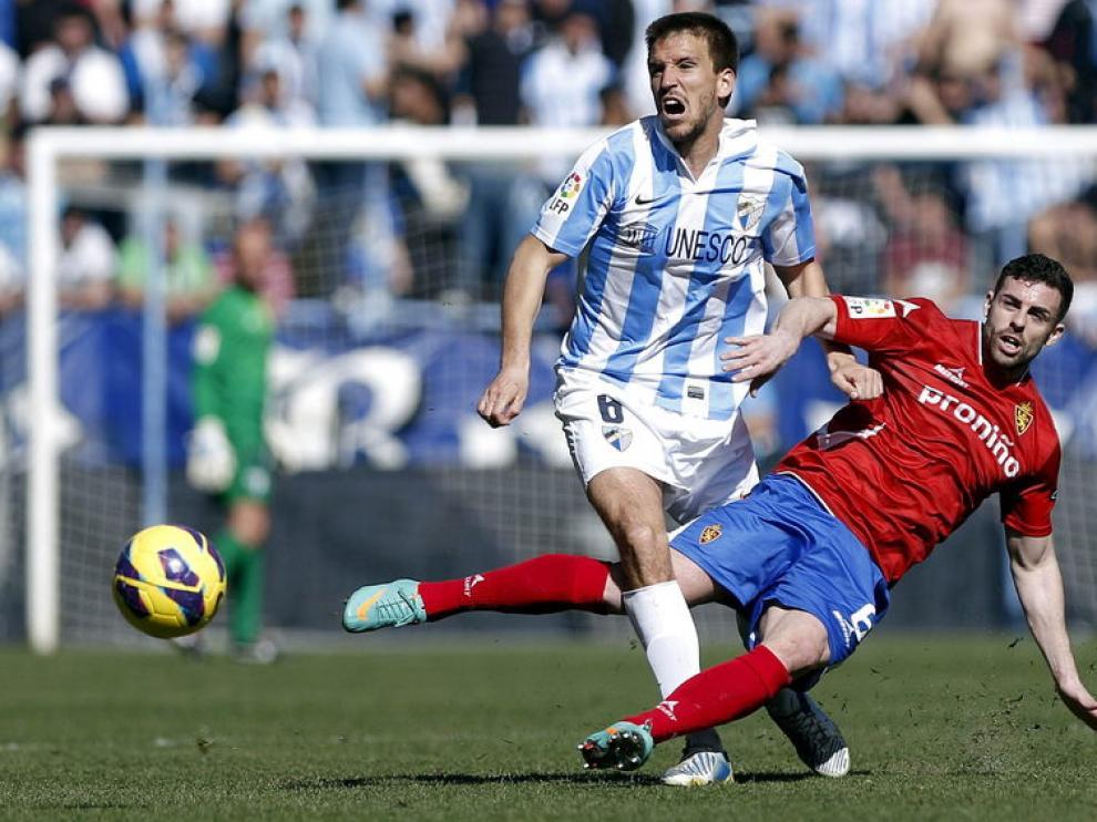 Rodri, en un partido con la camiseta del Real Zaragoza