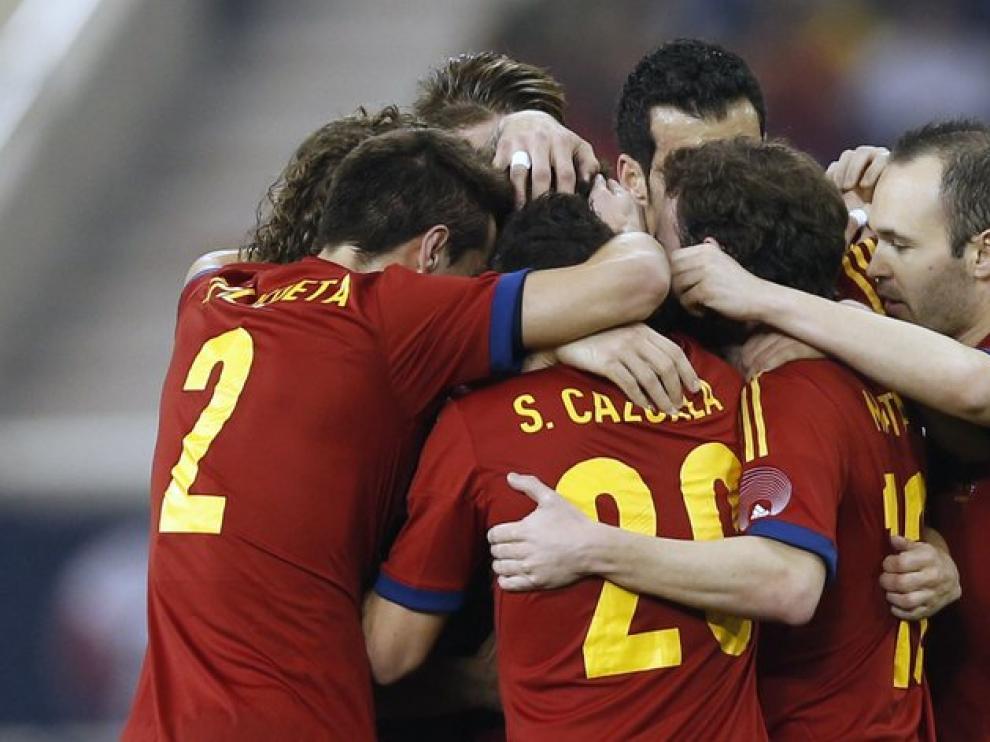 Imágenes del partido entre España y Uruguay