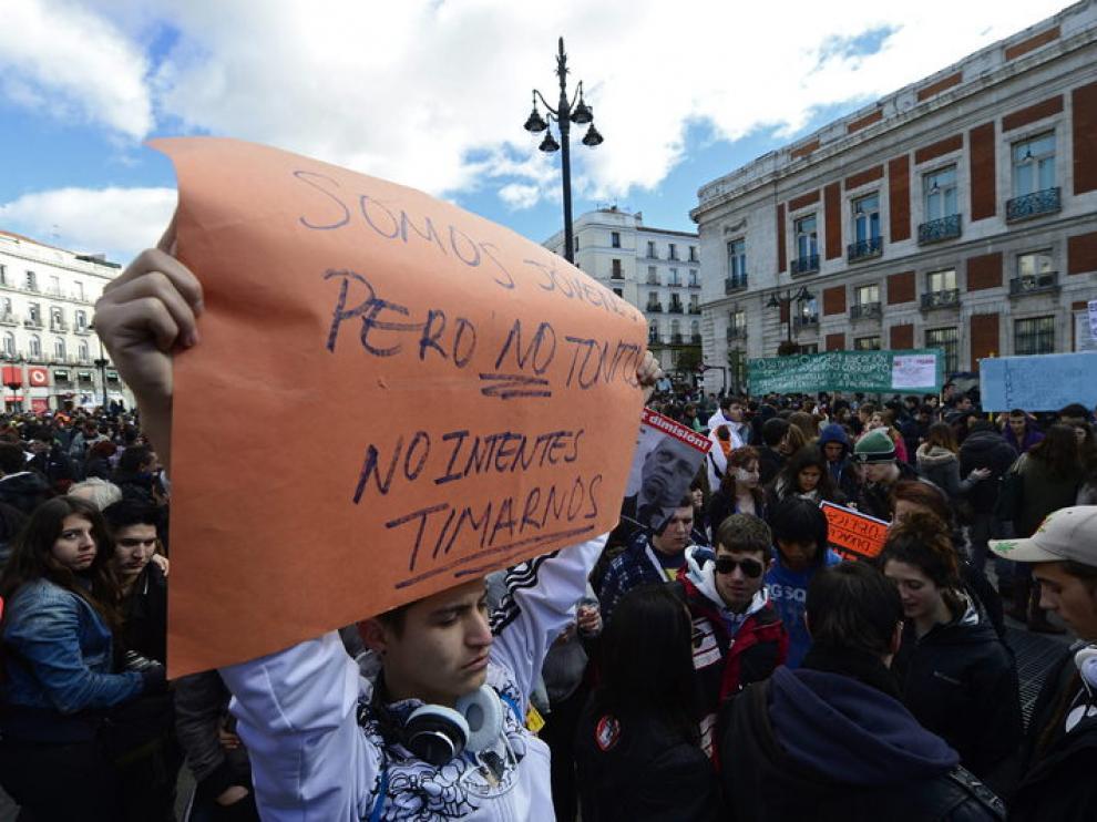 Manifestación estudiantil en Madrid contra la ley de Wert.