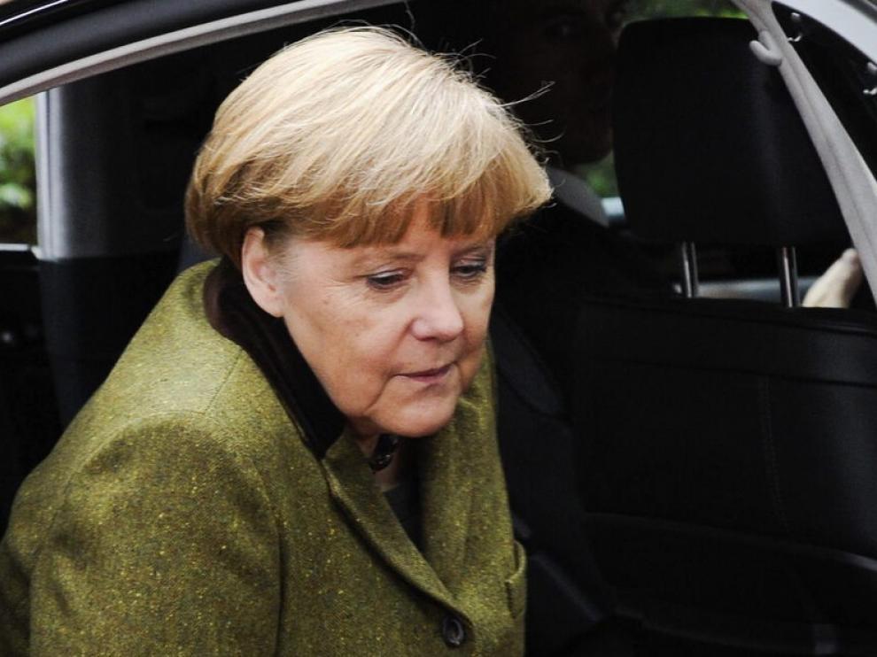 Merkel a su llegada a la cumbre