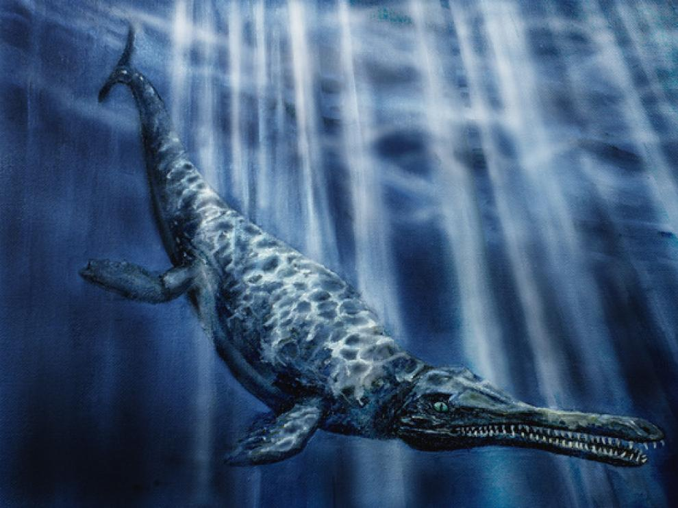 Reconstrucción en vida de Maledictosuchus, realizada por José Manuel Gasca