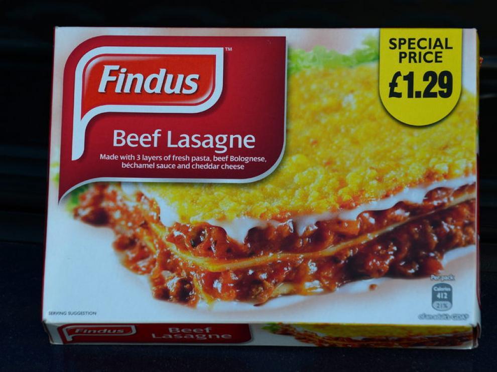 Imagen de una caja de lasaña de la marca Findus.