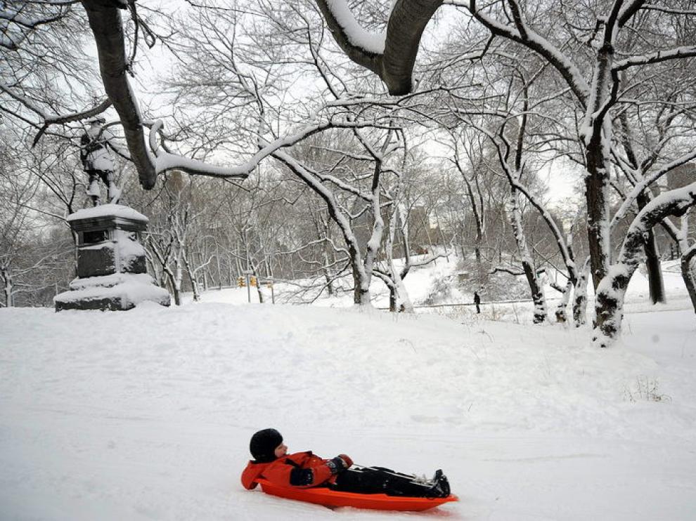 Central Park cubierto por una densa capa de nieve