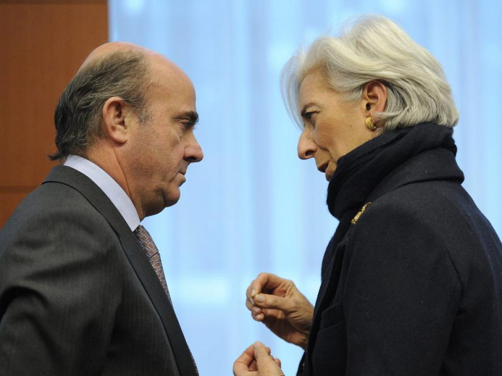 El ministro Luis de Guindos, reunido con Christine Lagarde este martes.