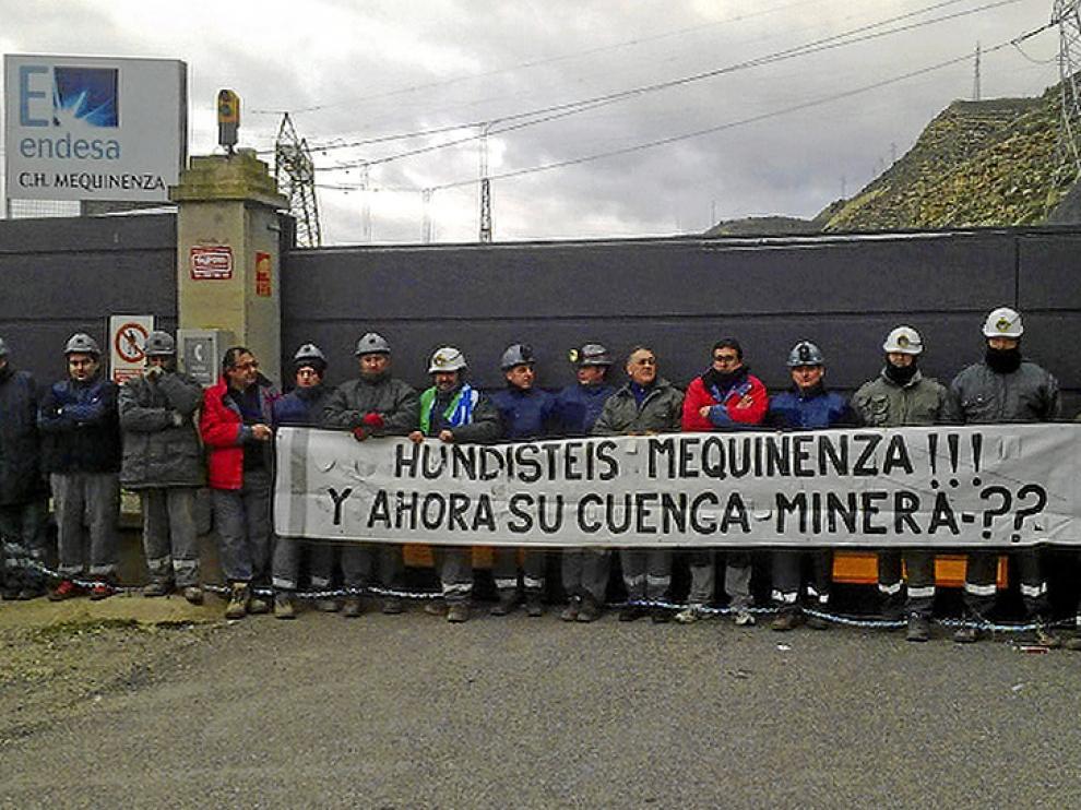 Protesta de mineros en Mequinenza