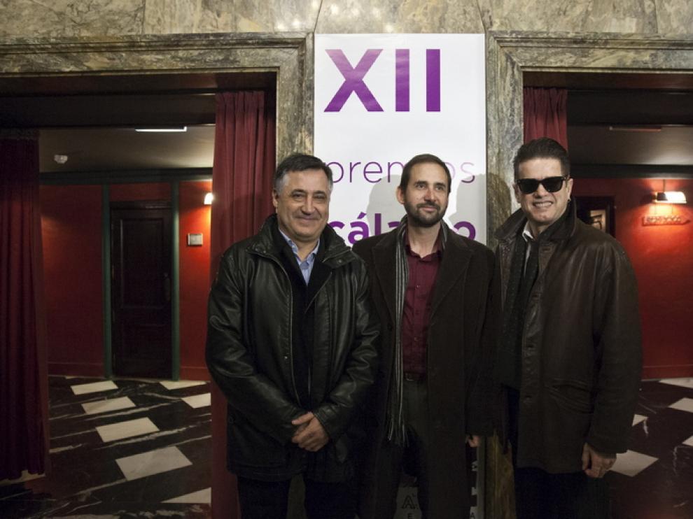 Los premiados: Gervasio Sánchez, Joaquín Berges y Santiago Auserón