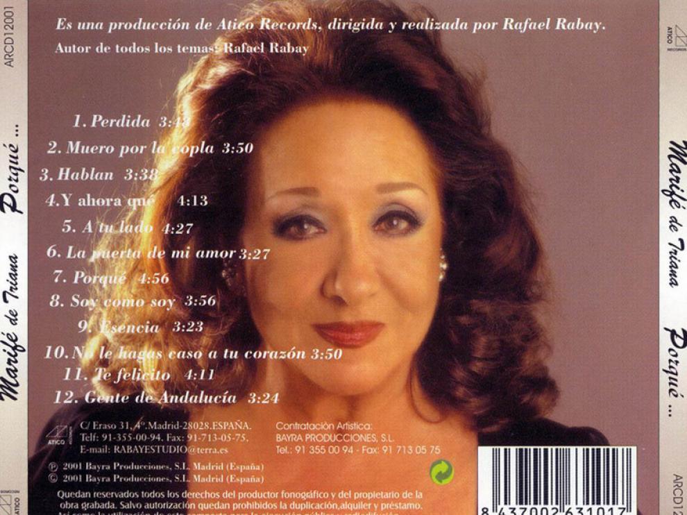 Carátula del último disco de Marifé de Triana (2001- Por qué)
