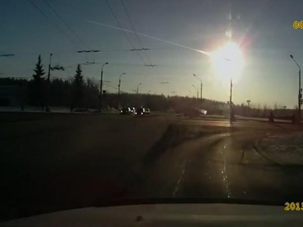 Imagen del meteorito caído en Rusia