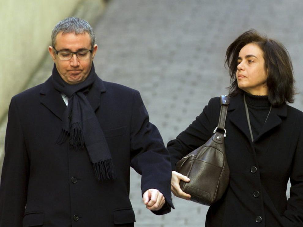 Diego Torres y su mujer, a la llegada a los juzgados de Palma