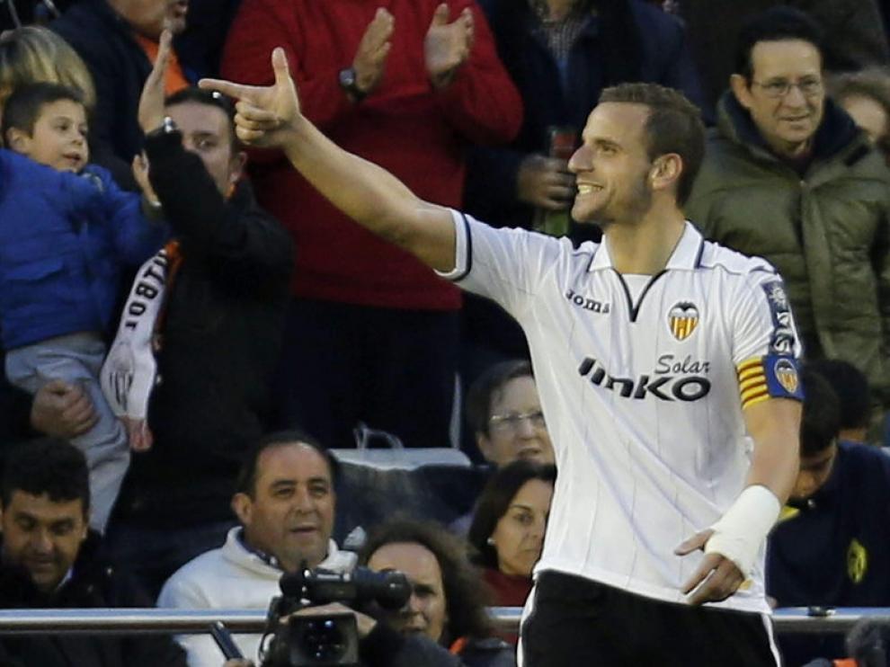 El delantero del Valencia CF, Roberto Soldado