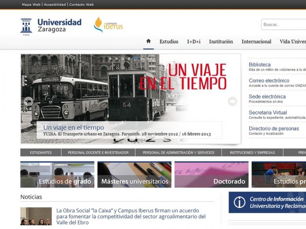 Web de la Universidad de Zaragoza.