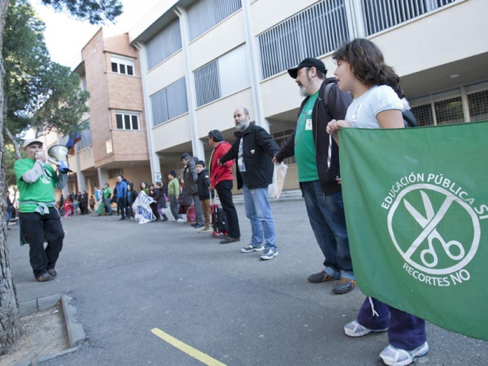 Una protesta organizada por Marea Verde en defensa de la escuela pública.