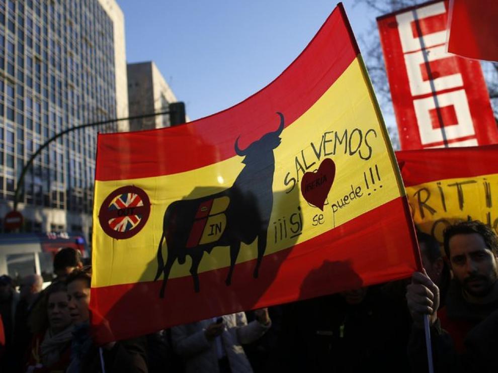 Protesta ante la sede de Iberia
