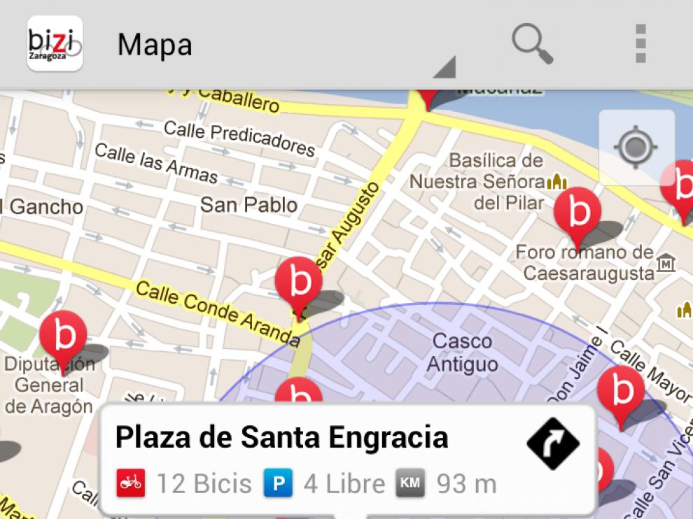 Imagen de la aplicación para móvil del servicio Bizi